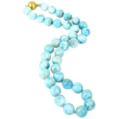 Larimar and 9 Carat Gold Necklace