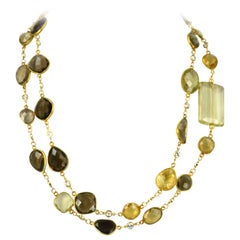 Smokey Citrine and Lemon Quartz Chain Necklace
