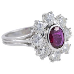 1.0 Carat Natural Untreated Ruby and Diamond Cluster Ring