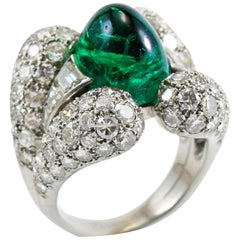 Platinum Retro Emerald Cabochon Diamond Ring