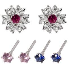 Floral Motif Interchangeable Diamond Earrings Set with Heart Shape Diamonds