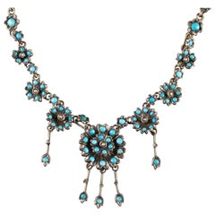 Antique Victorian Turquoise Necklace Forget Me Not, circa 1880