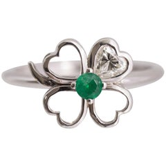 Four-Leaf Clover Motif Diamond and Emerald Ring
