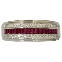 Ruby and White Diamonds and White Gold Ring