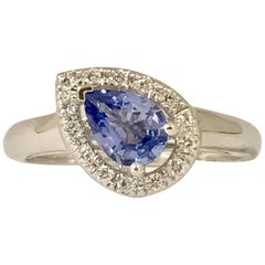 Blue Sapphire and Diamonds White Gold Ring