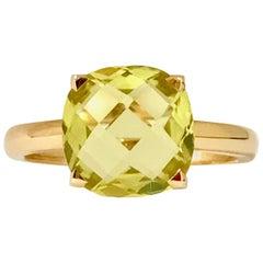 Lemon Quartz and Pink Gold Ring