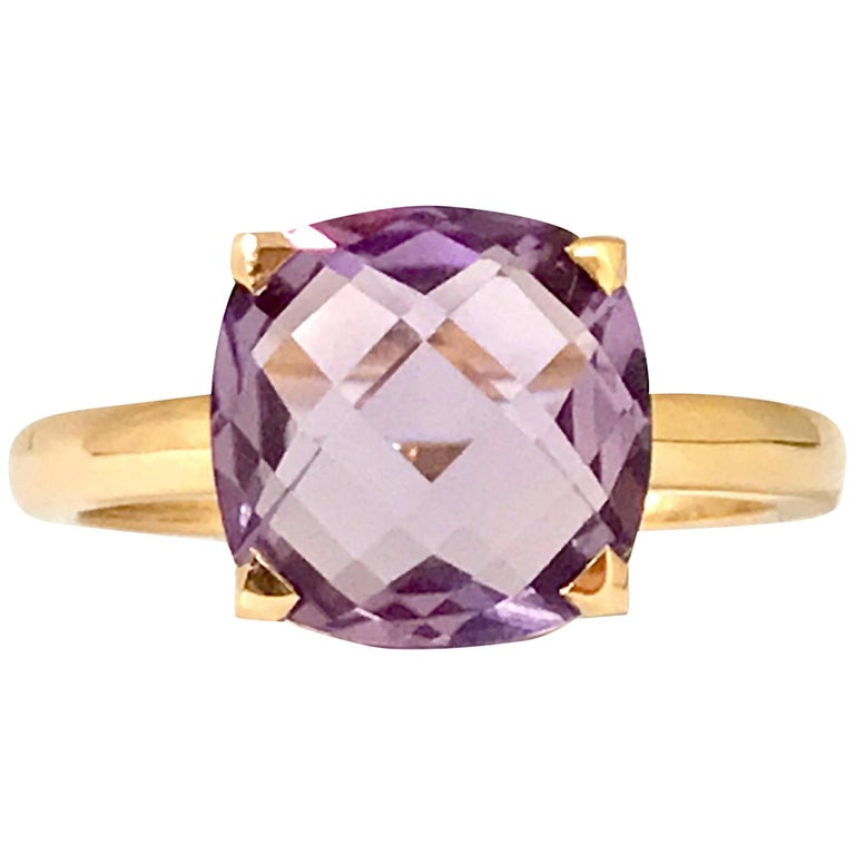 Amethyst and Pink Gold Ring