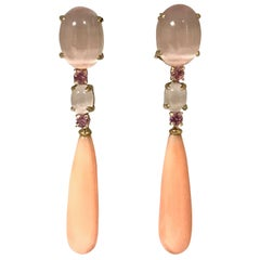Coral Pink Quartz and Pink Sapphires Yellow Gold Earrings