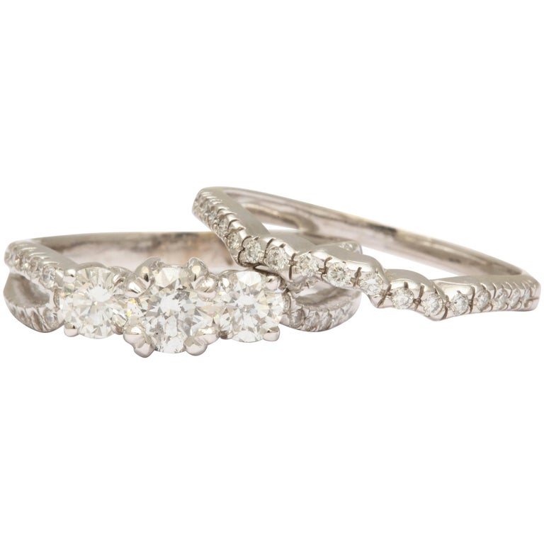 Diamond and White Gold Engagement and Wedding Band Set