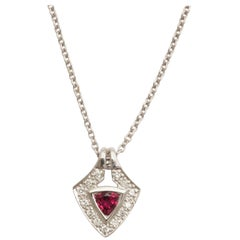 Charming Pink Tourmaline Diamond White Gold Pendant