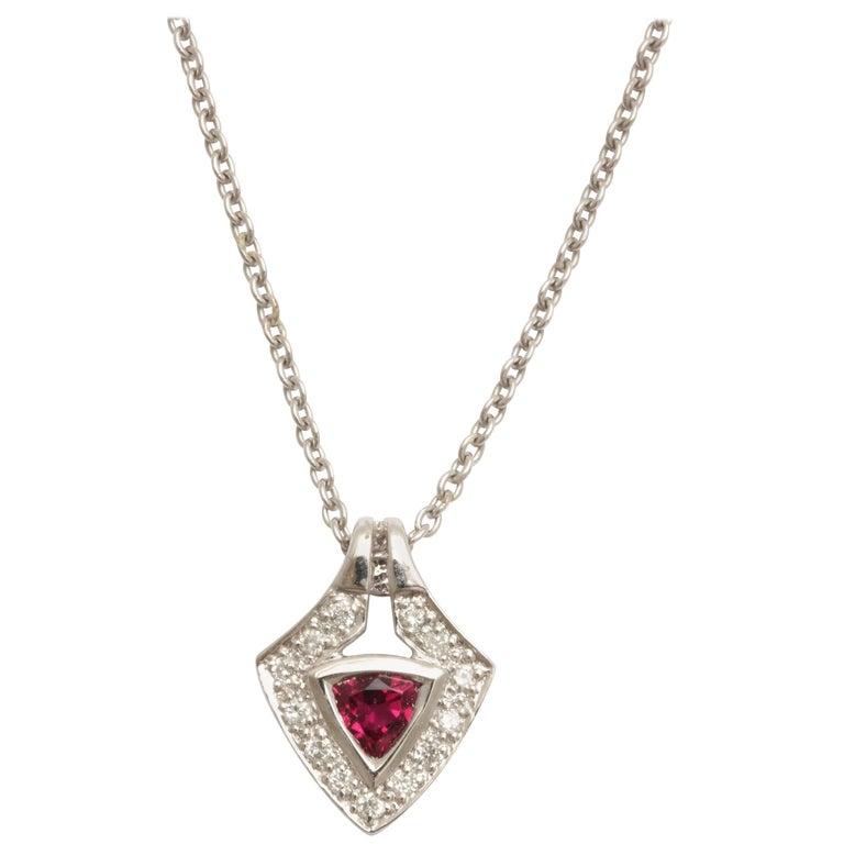 Charming Pink Tourmaline Diamond White Gold Pendant