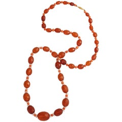 Antique Amber, Coral, Crystal Rondelle Necklace