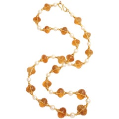 Superb Faceted Citrine Bead, Gold and Pearl Necklace