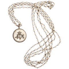 Mother-of-Pearl Silver Diamond Pearl Chain Necklace