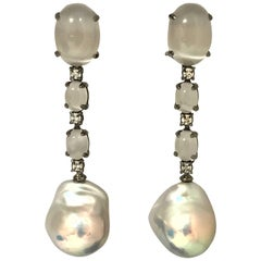 Cultured Pearls Diamonds Quartz and Black Gold Earrings