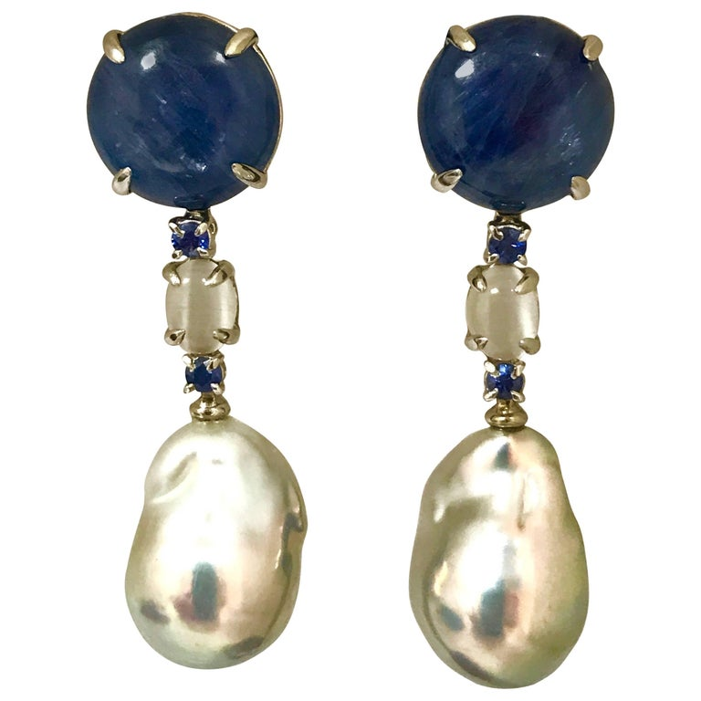 Cultured Pearls Labradorites and Kyanites White Gold Earrings