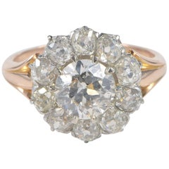 Edwardian Diamond Rare Cluster Engagement Ring