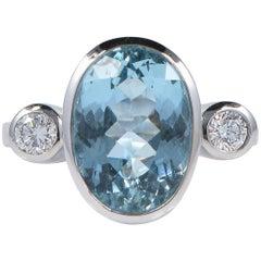 Aquamarine Diamond Trilogy Ring