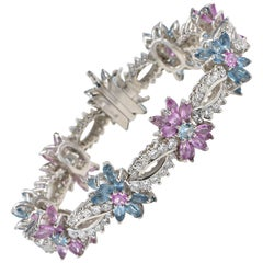 Spectacular Morganite Aquamarine Diamond Bracelet