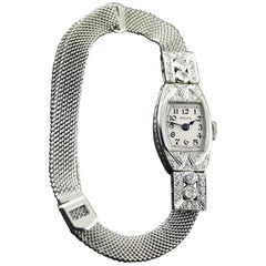 Rolex White Gold Diamond Art Deco Wristwatch, 1926