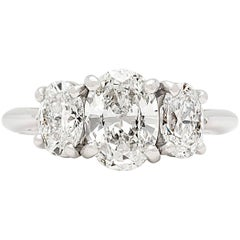 Tiffany & Co. GIA Report Three-Stone Oval Diamond Engagement Ring