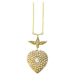 Seed Pearl Heart with Bird Necklace