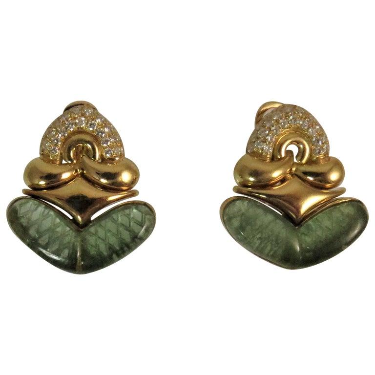 Bulgari Carved Green Tourmaline Diamond Gold Flexible Earrings
