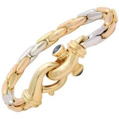 Italian Three-Tone Gold Sapphire Bracelet