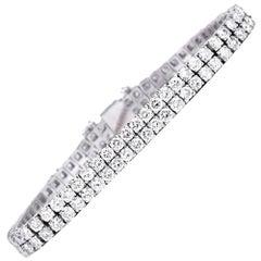 Two-Row Diamond Platinum Flexible Line Tennis Bracelet