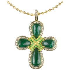 Emerald Tsavorite Garnet and Colored Diamond Cross Necklace