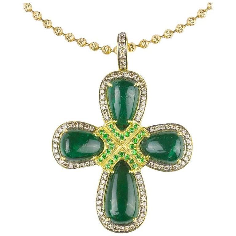 Emerald Tsavorite Garnet and Colored Diamond Cross Necklace