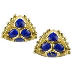 Elizabeth Gage Lapis Lazuli Gold Earclips