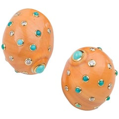 Trianon Diamond Turquoise Shell Earclips