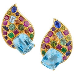 Multi Gem Aquamarine Gold Paisley Earclips