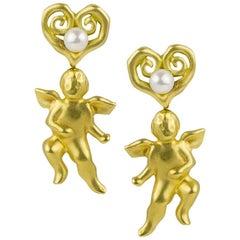 Tiffany & Co. Pearl Cherub Gold Earclips