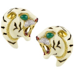 Legnazzi Tiger Emerald Diamond Enamel Earclips
