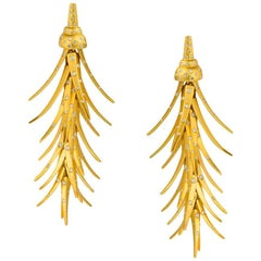 Umrao Italy Diamond Gold Leaf Earrings