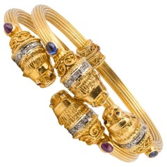 Pair Of Lalalounis Diamond Ruby Sapphire Gold Bangles