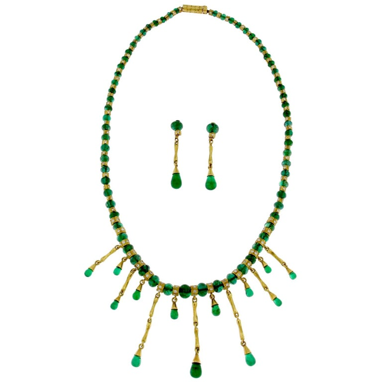 Emerald Diamond Necklace with Earrings