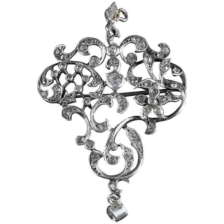 Antique Victorian Paste Pendant Brooch, circa 1880