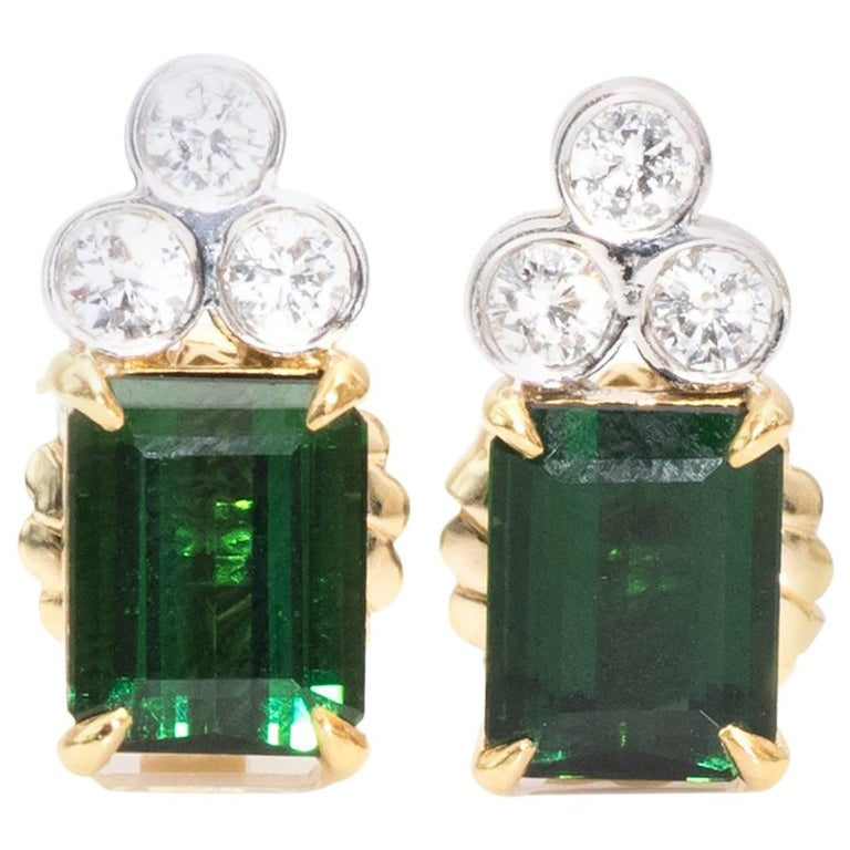 1980s Green Tourmaline and Diamond Earrings For Sale