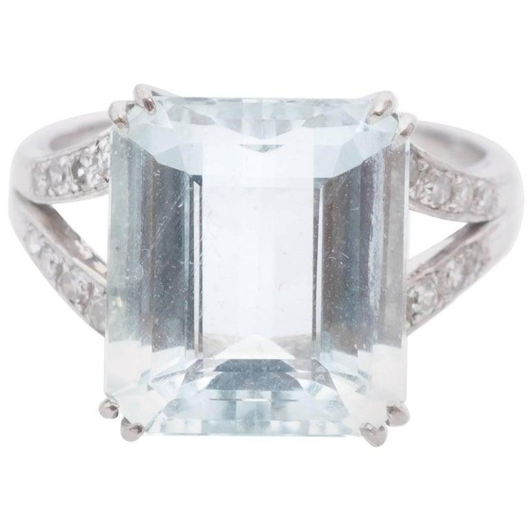 1990s 6 Carat Aquamarine and Diamond Cocktail Ring