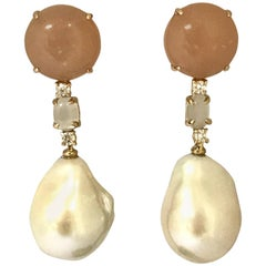 Peach Moonstone Diamonds and Cultured Pearls Yellow Gold Earrings