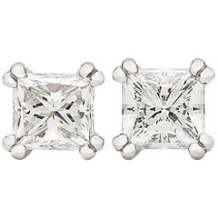 GIA Report 1.98 Carat Princess Cut Diamond Platinum Studs