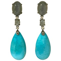 Turquoises Labradorites and White Diamonds Black Gold Earrings