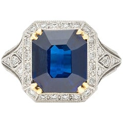 French GIA Report Sapphire Diamond Engagement Ring