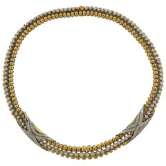 1960 Era Diamond Gold Couscous Necklace