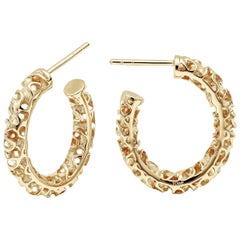 Towe Norlen Silk Open-Work Yellow Gold Hoop Earrings