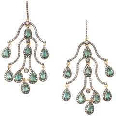 Faceted Emerald and Diamond Chandelier Earrings