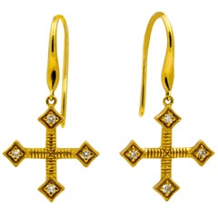 Katie Decker Diamond 18 KY Gold Maltese Cross Earrings
